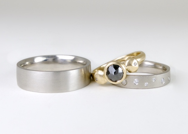 Palladium bands and Black Diamond Fragment Ring (1)